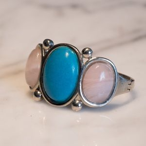 Genuine silver, turquoise and rose quartz bangle